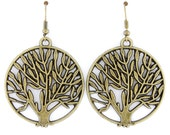 Pretty Simple Round Tree Plate Dangle Drop EARRINGS