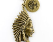 Simple Gold-tone Chief of the Tribe and The Forest Pendant Necklace