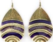 VINTAGE Retro Gold-tone Purple Stripe Drop Dangle EARRINGS