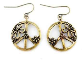 Simple Gold Tone Floral Antique Peace Sign Drop Earrings