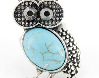New Silver-tone Natural Turquoise Stone Owl Ring,Adjustable