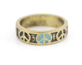 Pretty Simple Antique Peace Sign Ring,Size selectable<K7>