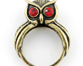 Pretty Simple Antique Gold-tone RED Crystal Owl Ring,Size 7/Size 8