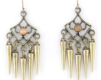 Pretty Gold-tone Bullet Dangle Drop Earrings E2