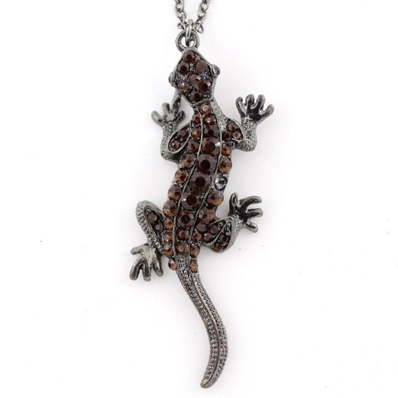 Beautiful Full Crystal Home Lizard/Gecko Pendant Necklace,M3