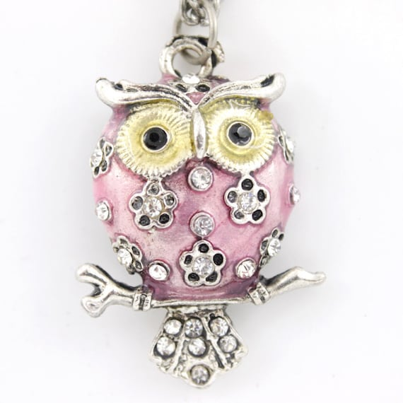 Silver-tone Round PINK Enamel White Crystal Owl NECKLACE