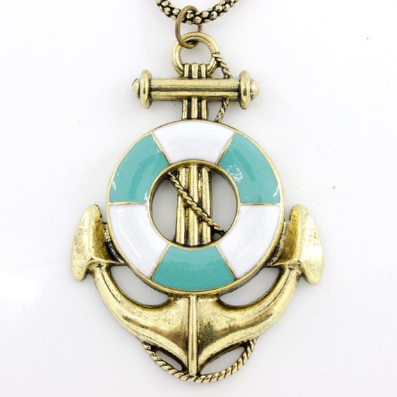 Vintage Beautiful Bright Gold-tone Life Ring Anchor Pendant NECKLACE