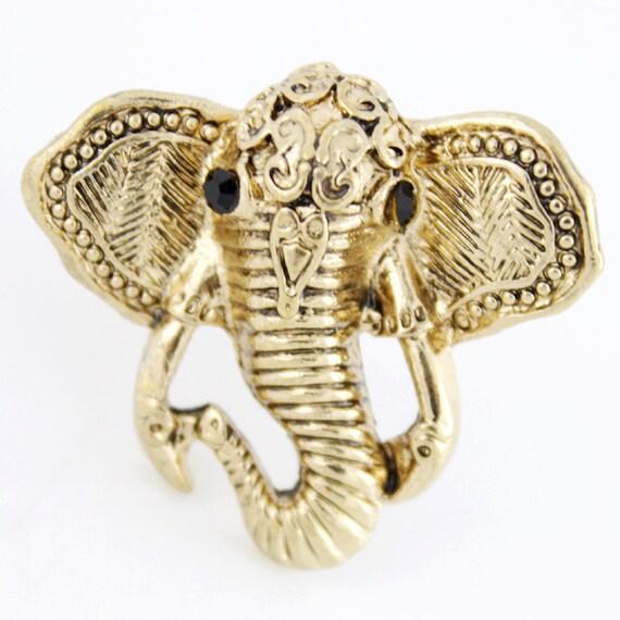 Cute Gold-tone Elephant Ring,Size 6