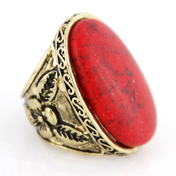 Vintage Retro Gold-tone RED Natural Turquoise Stone Ring,Size selectable