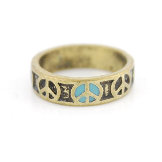 Pretty Simple Antique Peace Sign Ring,Size 8