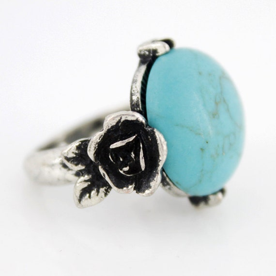 New Silver-tone Floral Natural Turquoise Stone Ring,Sz.7