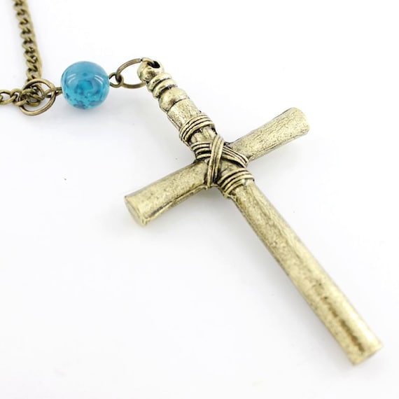 Pretty Simple Metal Cross Necklace with Blue Bead