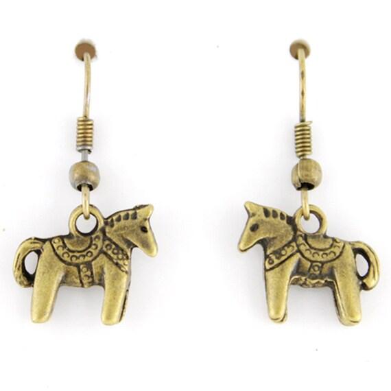 Cute Mini Gold-tone Horse Drop Dangle Earrings