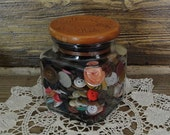 Candy Jar of Vintage and Antique Buttons Anchor Hocking