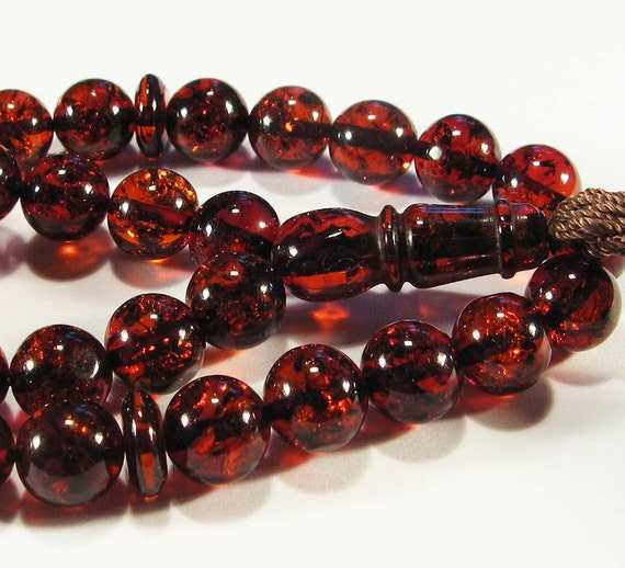 Natural dark cognac Baltic amber islamic prayer beads