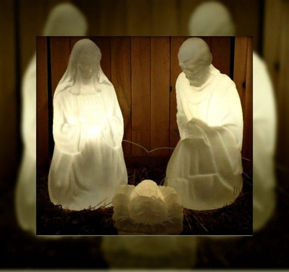 3 Pc Lighted Marble White Blow Mold Nativity Set