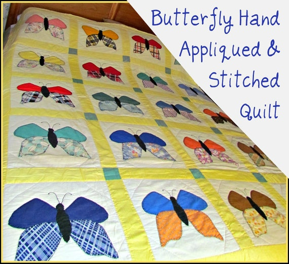 SALE!!! 1940s Hand Appliqued & Stitched Butterfly Quilt
