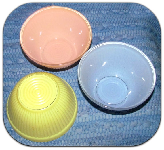 Rare Trio of Pastel Fired on Color Refrigerator Bowls