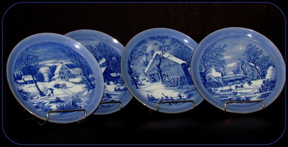 Vintage Currier and Ives Winter Scene Decorative Plates