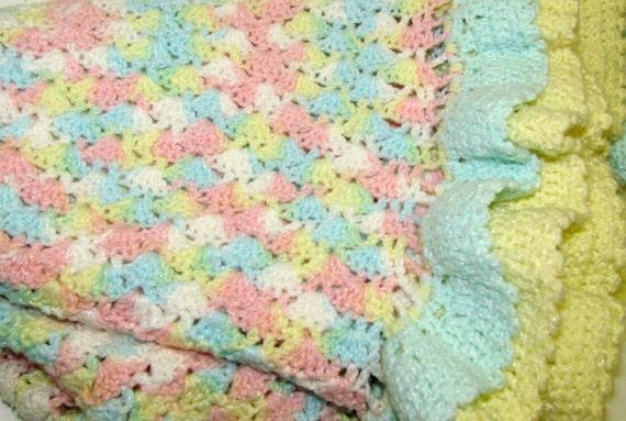 Treasury Item-- Vintage Crochet Pastel Ruffled Baby Afghan