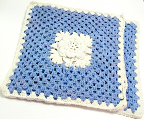 SALE!! Pair of Vintage Crochet Blue and White Cushion Covers, Hand Crochet Roses, Blue Decor