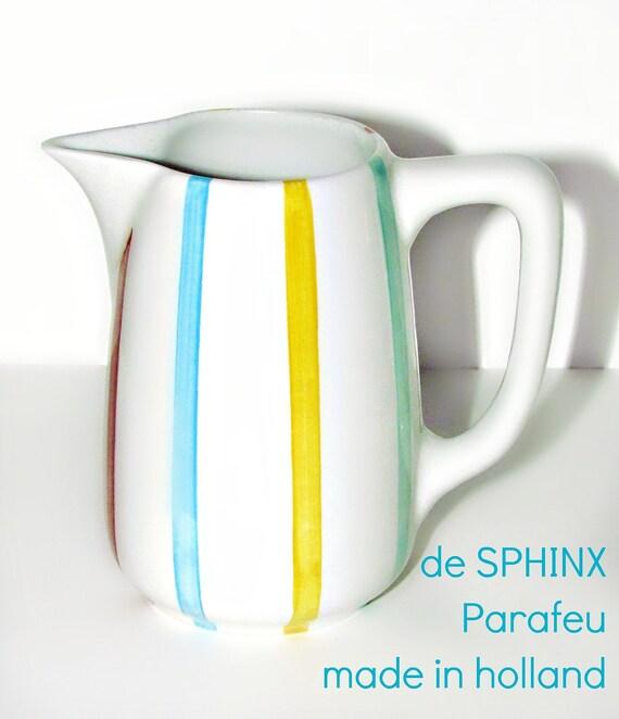 SALE!!! Mid Century Danish Modern de Sphinx Parafeu Multi-Stripe Pitcher