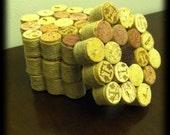Handmade Wine Cork Coasters (Set of 4)-Tan Ribbon Trim