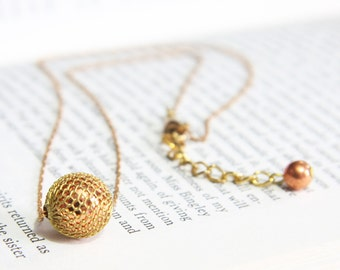 Copper and Brass Mesh Orb Pendant Necklace with Rare Vintage Bead and Chain