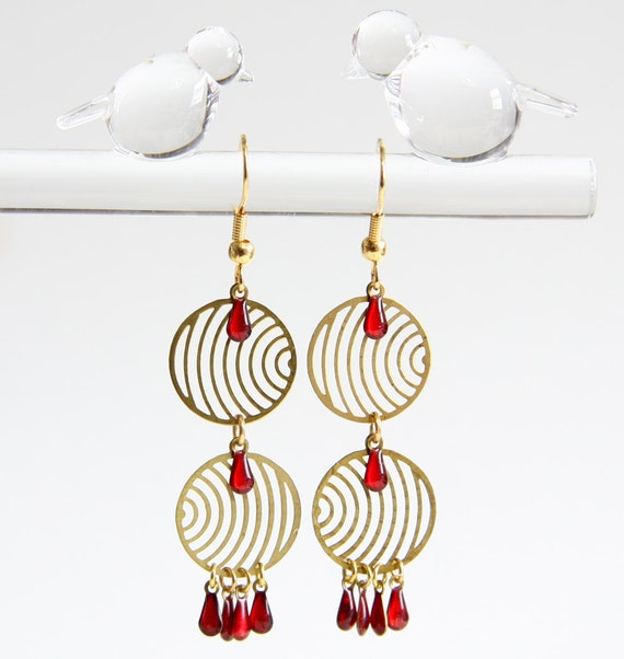 Delicate Retro Drop Earrings with 1960s Pop Art Brass Discs and Tiny Red or Navy Blue Enamel Drop Charms
