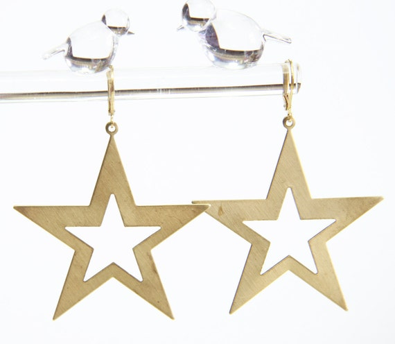 The Galaxy Earrings Large Polished Vintage Brass Stars Cut Outs Boho Chic Rock