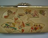 1970s Vintage Japanese Himeji white leather purse and wallet set