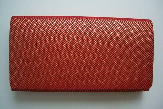 Saga nishiki, red and gold silk brocade, vintage Japanese clutch purse