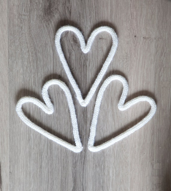 White spool knitted hearts - set of 3