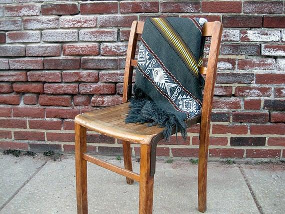 Vintage Poncho Wool South American Throw