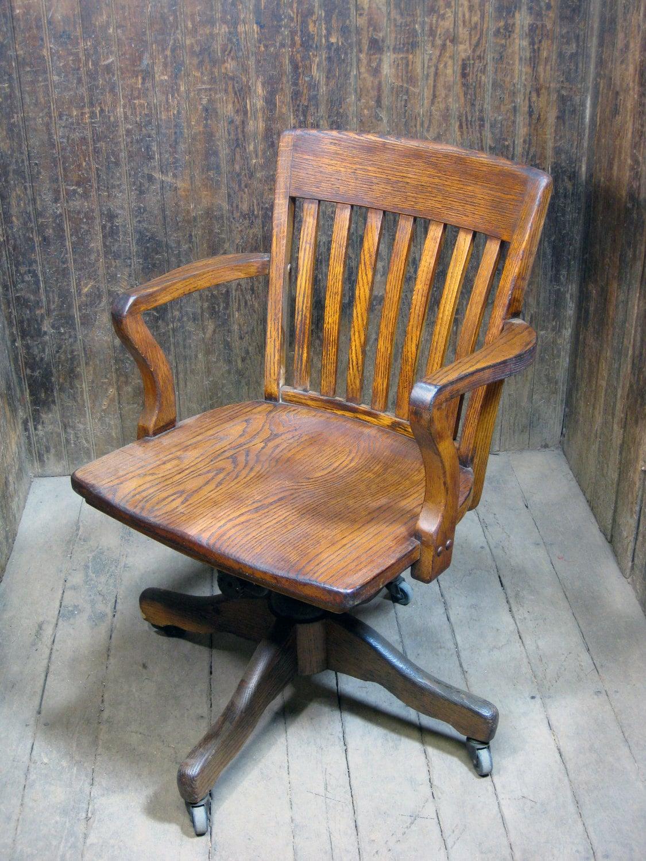 Vintage Oak Office Chair Swivel Wheels
