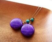 Purple Turquoise Earrings, Coins Discs, Kidney Hooks, Modern, Organic