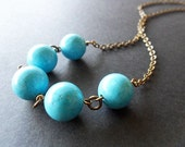 Blue Turquoise Necklace, Antique Gold Chain