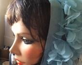 Vintage Blue Chiffon Scarf - 60's Clothing - Look Like a Movie Star