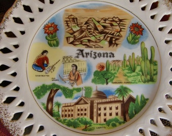 Vintage Arizona Souvenir Plate - Kitch Decor