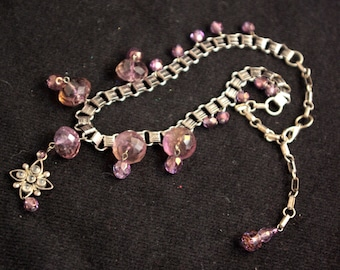 Vintage Amethyst Colored Crystal Necklace, with small pendant and dangle beads