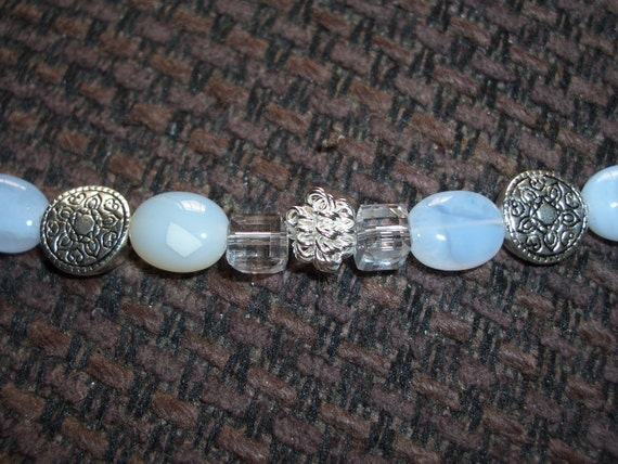 "Blue Moonstone Bracelet / Silver Plated Beads / Crystal Cubes - 7 1/4"" long - B84"