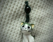 Cute Japan Funny Expression kitty hemp key chain, Happy.