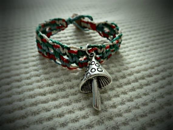 Mushroom Charm Hemp Bracelet