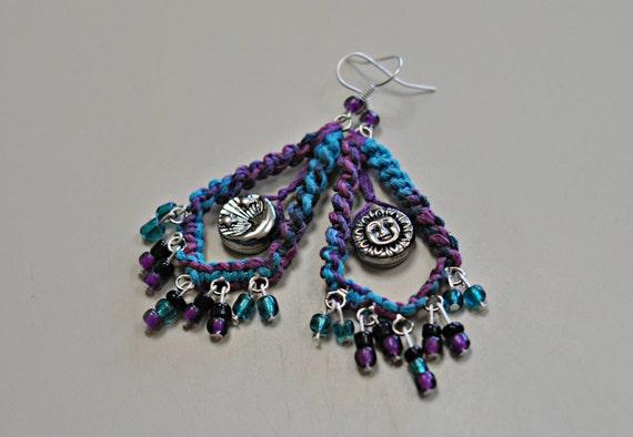 Sun and Moon Beaded Gypsy Earrings