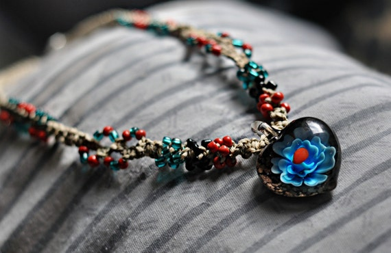 Flower Heart Glass Pendant and Glass Beaded Natural Hemp Necklace