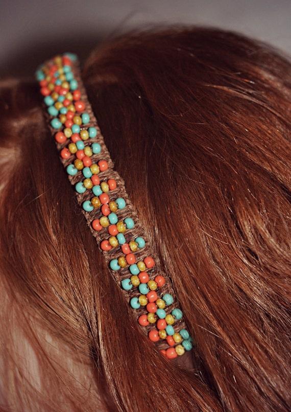 Dark Brown Natural Hemp Southwestern Beaded Headband ( FREE SHIPPING )