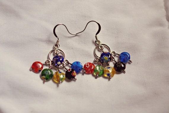 Glass Flower Beaded Summer Earrings