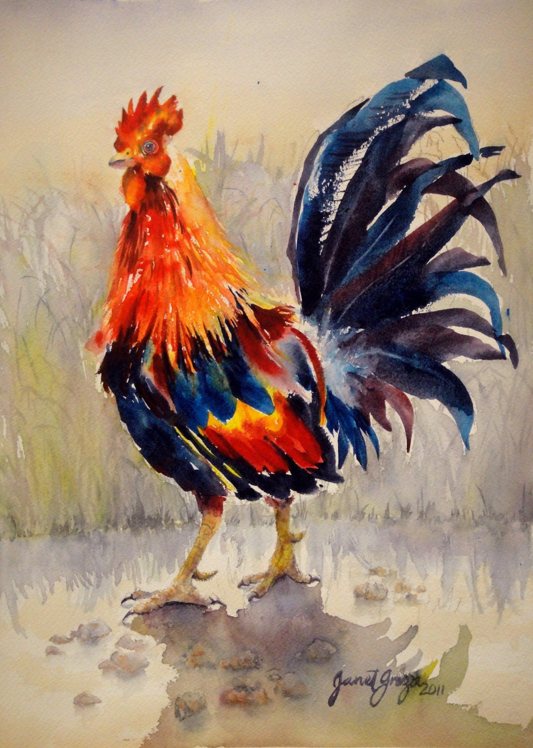 Rooster Contemporary Realism Original Watercolor On 11x15