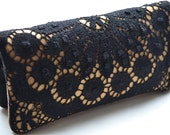 Black Lace Purse with Gold Linen...
