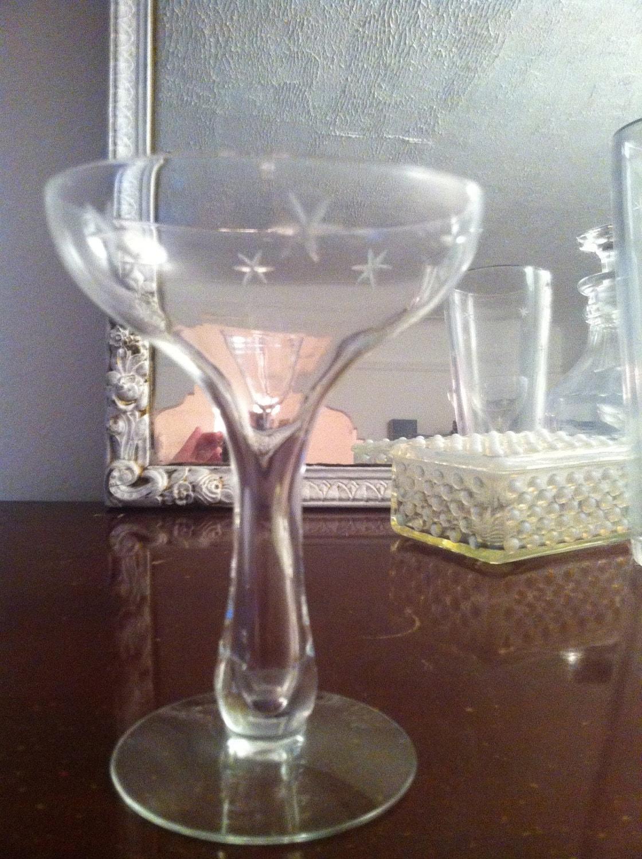Vintage hollow stem champagne saucer glasses by schneidervintage - Hollow stem champagne glasses ...